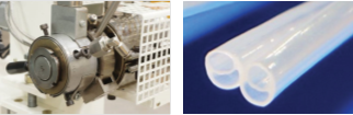 Bi-Lumen die produced tube